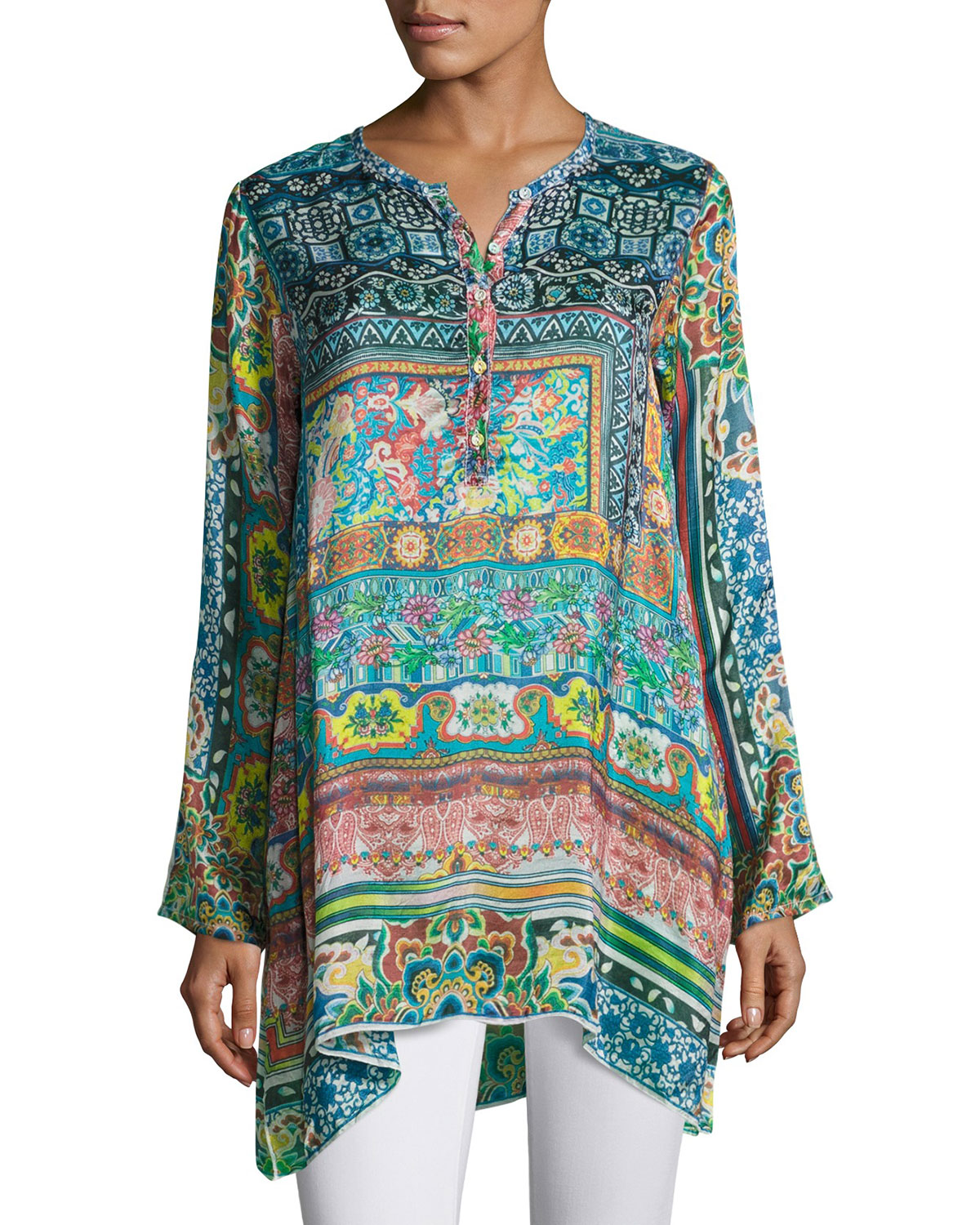 d905a23e022 Johnny Was Frame Printed Silk Georgette Tunic | Neiman Marcus