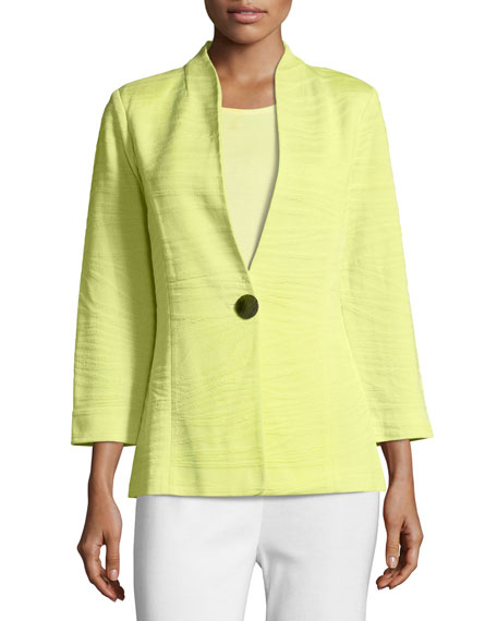 Misook Petite Textured One-Button Jacket, Daiquiri Green