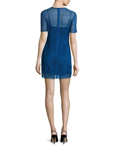 Short-Sleeve Chain Lace Mini Dress, Blue