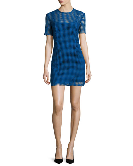 Diane von Furstenberg Short-Sleeve Chain Lace Mini Dress,