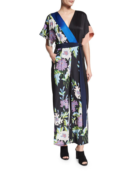 Floral-Print Satin Belted Jumpsuit, Multicolor