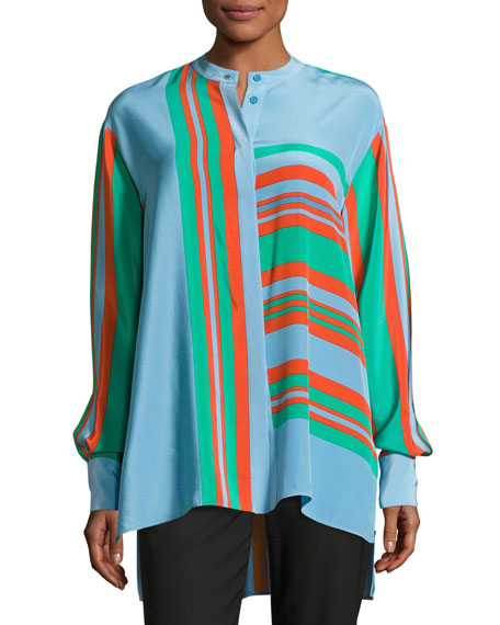 Diane von Furstenberg Oversized Striped Silk Shirt, Multicolor