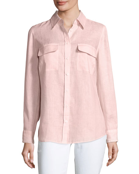 Long-Sleeve Button-Front Linen Top