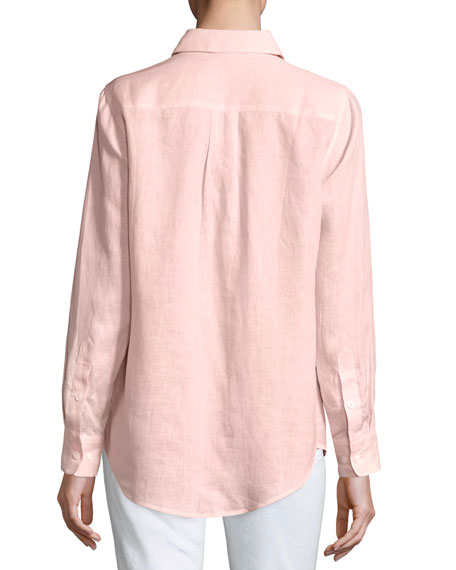 Long-Sleeve Button-Front Linen Top, Petite