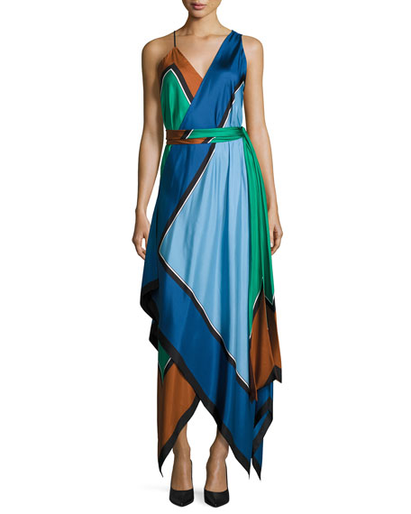 Diane von Furstenberg Colorblock Silk Scarf-Hem Midi Dress,