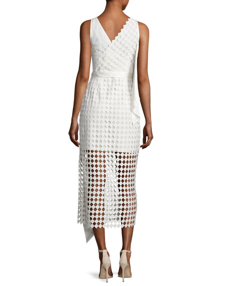 Asymmetric Ruffle Lace Midi Dress, Ivory