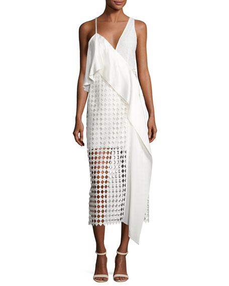 Diane von Furstenberg Asymmetric Ruffle Lace Midi Dress,