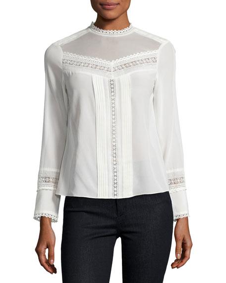 Rebecca Taylor Lace-Trim Long-Sleeve Silk Top, White