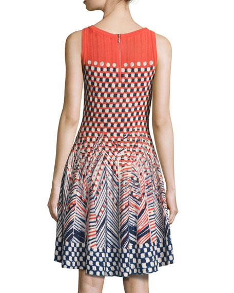 Fiore Sleeveless Printed Twirl Dress, Multi