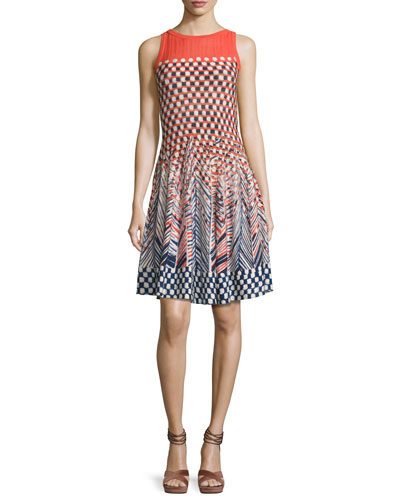 Fiore Sleeveless Printed Twirl Dress, Multi
