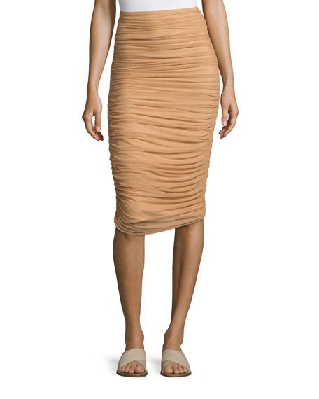Norma Kamali Shirred Knee-Length Swim Skirt, Camel
