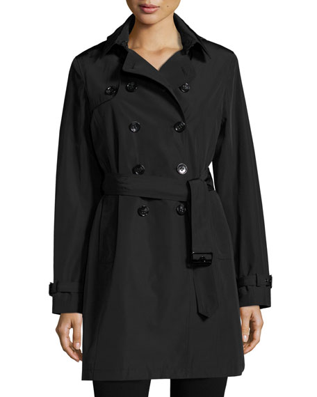 Belted Tech-Fabric Trenchcoat
