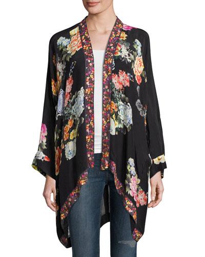 Jazzy Kimono-Style Printed Jacket, Plus Size