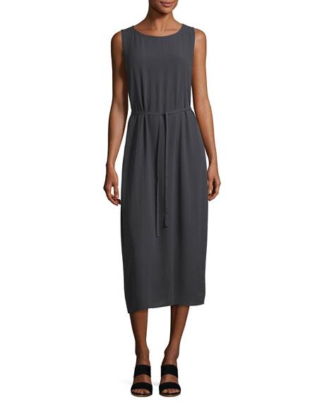 Sleeveless Bateau-Neck Silk Crepe Midi Dress