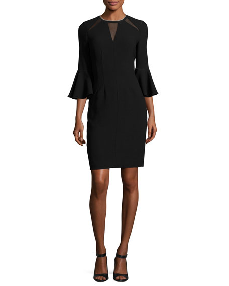 Elie Tahari Garcia Bell-Sleeve Sheath Dress w/ Mesh