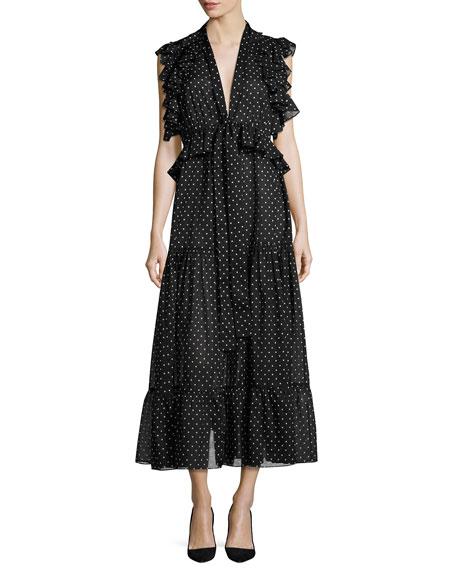 Robert Rodriguez Polka Dot Midi Dress, Black