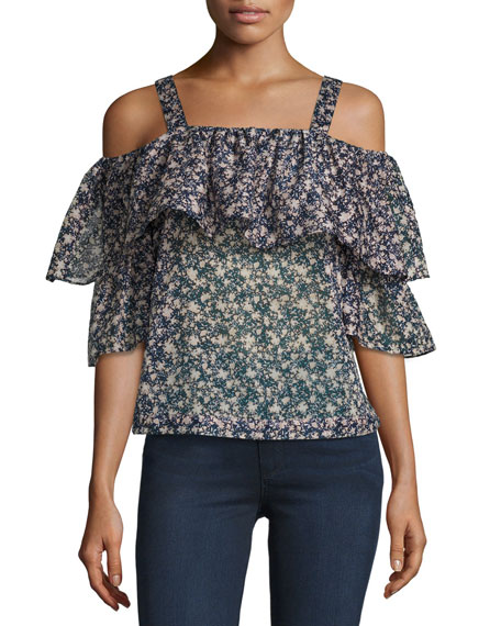 Robert Rodriguez Floral-Print Cold-Shoulder Top, Multicolor Pattern