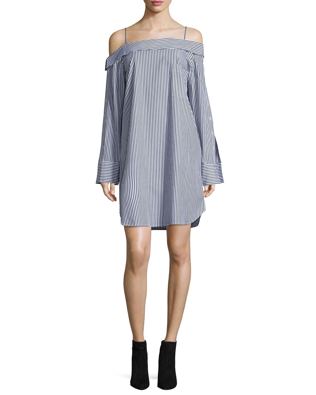 c93620a1b1 Robert Rodriguez Cold-Shoulder Striped Poplin Dress