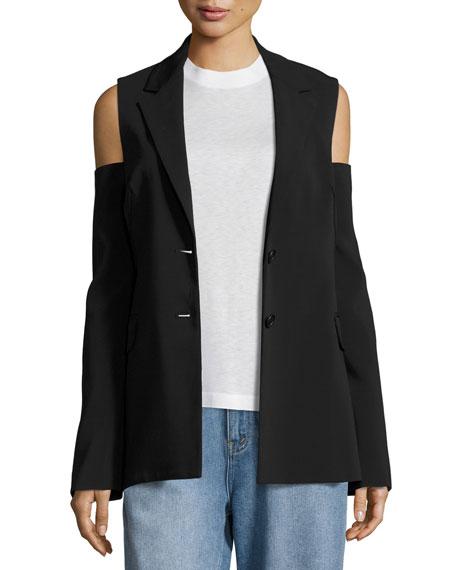 Cold-Shoulder Two-Button Blazer, Black