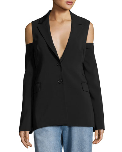Cold-Shoulder Two-Button Blazer, Black