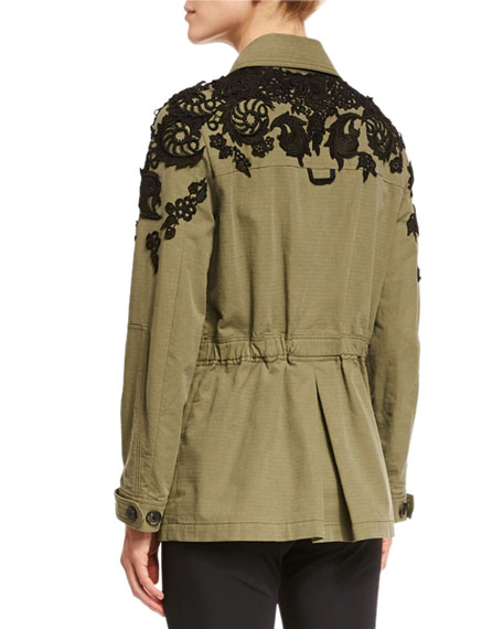Image 3 of 5: Heritage Lace-Trim Utility Jacket, Olive