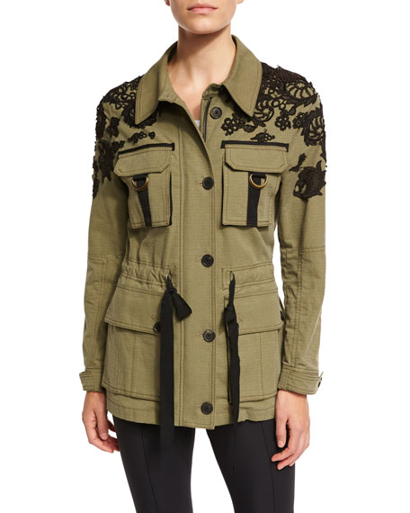 Image 1 of 5: Heritage Lace-Trim Utility Jacket, Olive