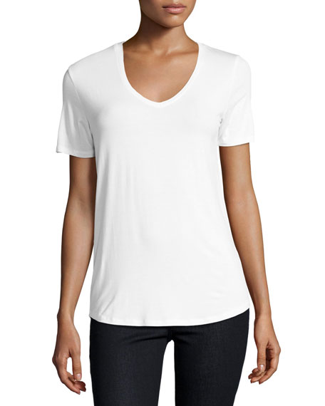 Majestic Paris for Neiman Marcus Soft Touch Relaxed V-Neck Tee