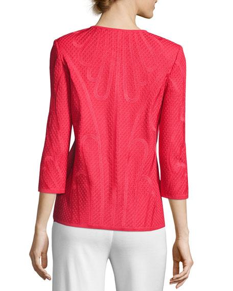 Misook Petite Textured 3/4-Sleeve Jacket, Sorbet