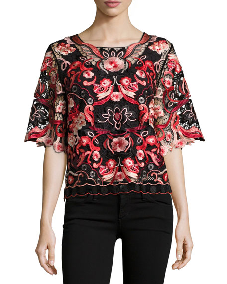 Mirielle Embroidered Floral Lace Blouse, Multi