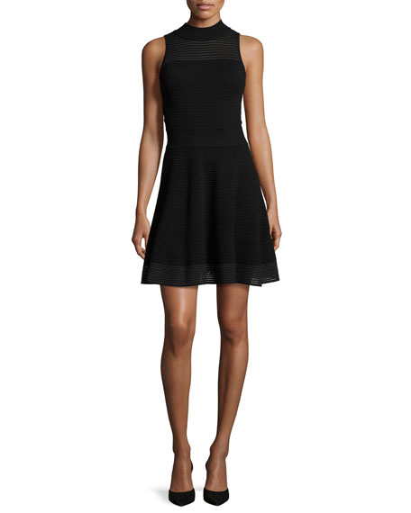 Milly Sleeveless Hexagon-Stitch Fit-&-Flare Dress