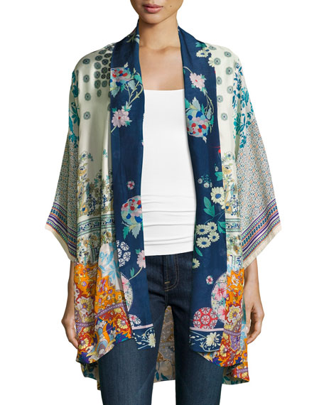 Johnny Was Mixed-Print Twill Kimono Jacket, Multi