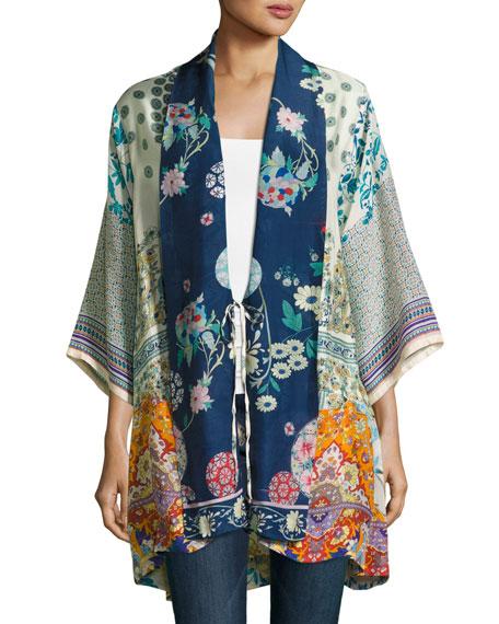 Mixed-Print Twill Kimono Jacket, Multi