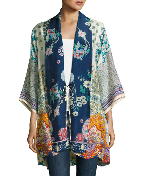 Mixed-Print Twill Kimono Jacket, Multi, Plus Size
