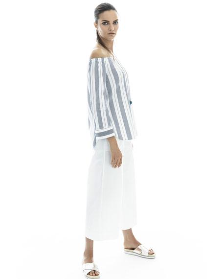 Natayla Striped Stretch-Cotton Off-the-Shoulder Blouse, Multi