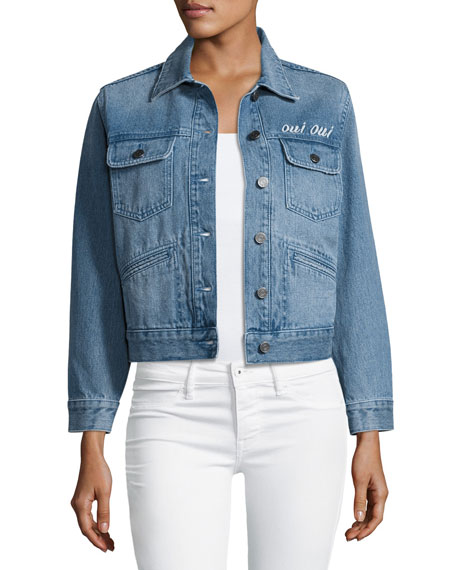 Joie Runa Embroidered Denim Jacket, Blue
