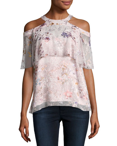 Genevieve Embellished Floral Silk Popover Blouse, Nude