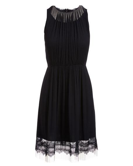 Demetria Sleeveless Chain-Trim Silk Dress