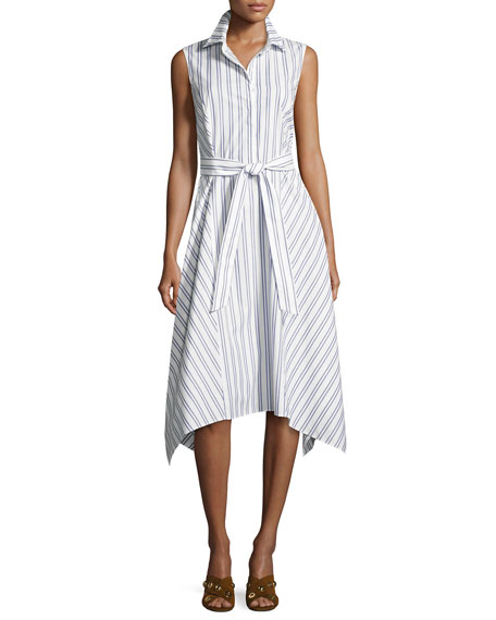 Lafayette 148 New York Nanette Sleeveless Basilica-Stripe Cotton