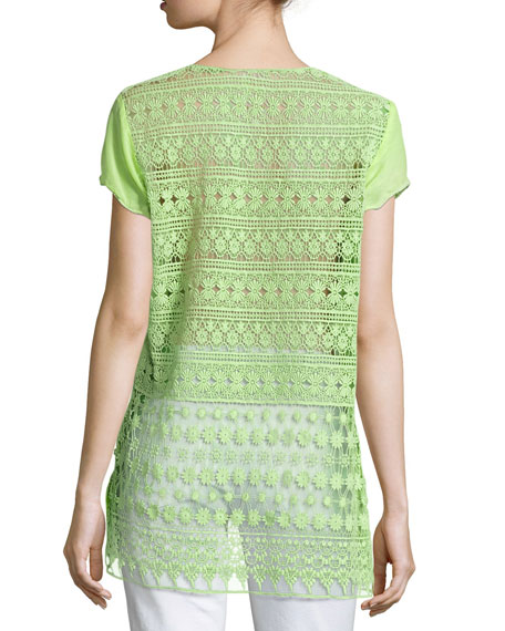 Harva Crochet-Back Top, Plus Size