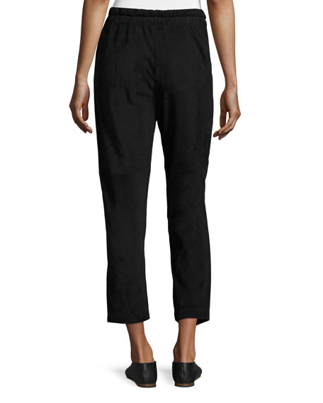 Suede Cropped Track Pants