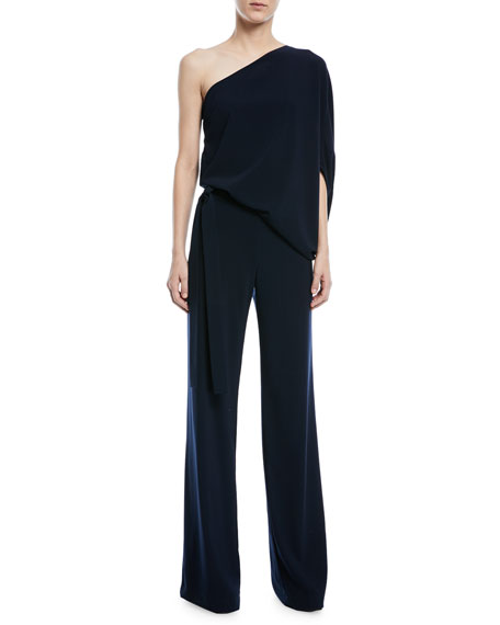Image 3 of 4: Halston One-Shoulder Draped Wide-Leg Jumpsuit