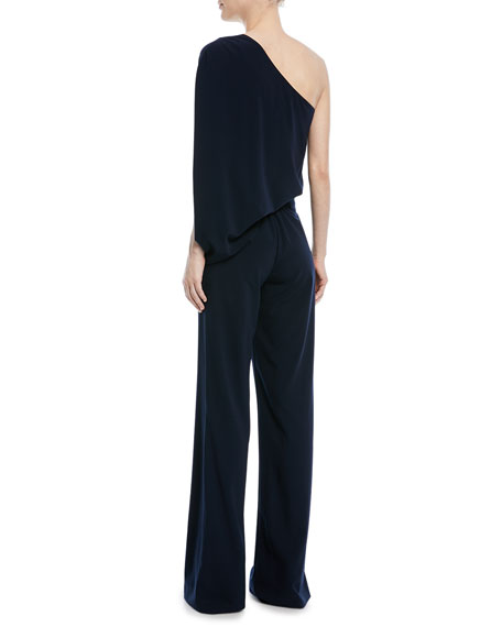 Image 4 of 4: Halston One-Shoulder Draped Wide-Leg Jumpsuit