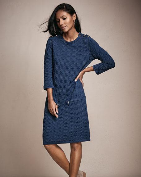 Sand-Stitched Zip-Pocket Shift Dress