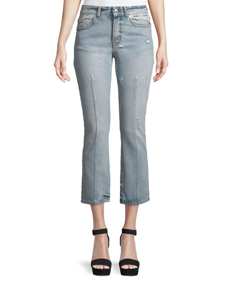 Alexander McQueen Bleached Denim Skinny Jeans, Light Denim