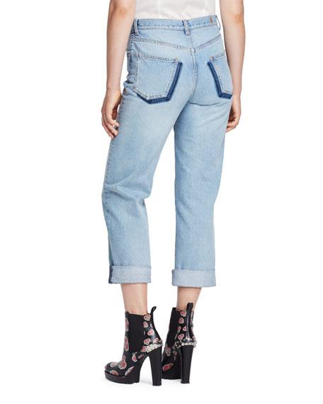 Cuffed Denim Boyfriend Jeans, Light Denim