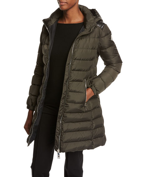 Orophin Long Puffer Coat w/Leather Trim