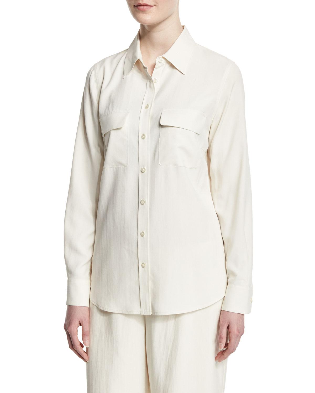 87e2a67ddec046 Go Silk Plus Size Safari Long-Sleeve Silk Shirt | Neiman Marcus