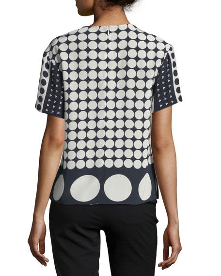 Polka-Dot Silk Asymmetric T-Shirt, Multicolor