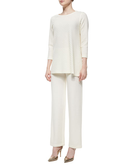 Caroline Rose Straight-Leg Flat Knit Wool Pants
