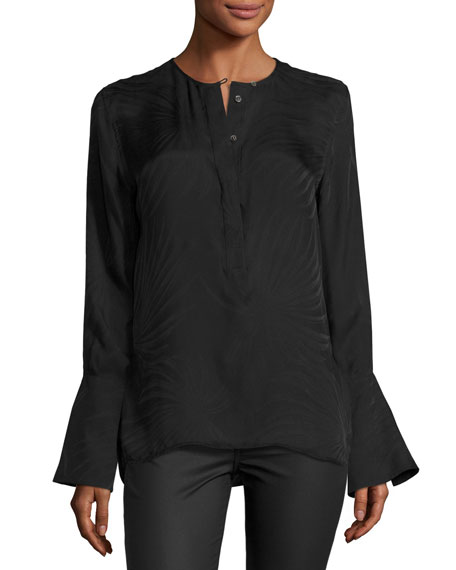 Equipment Kenley Bell-Sleeve Silk Shirt, Black